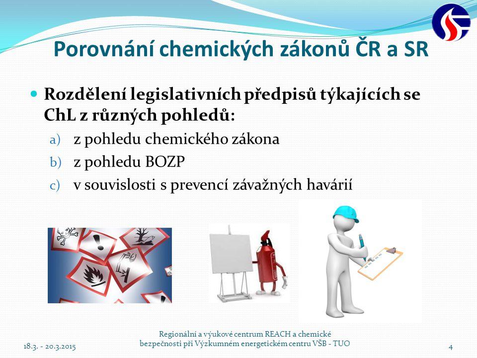 Porovnání chemických zákonů ČR a SR