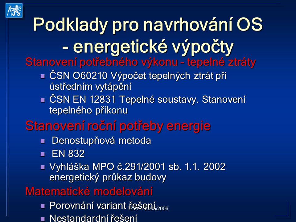 Podklady pro navrhování OS - energetické výpočty