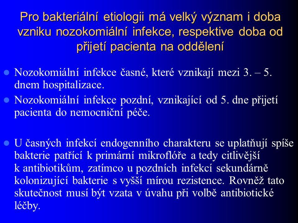 Pro bakteriální etiologii má velký význam i doba vzniku nozokomiální infekce, respektive doba od přijetí pacienta na oddělení