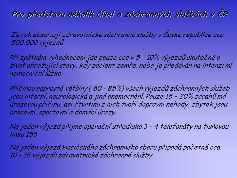Pro představu několik čísel o záchranných službách v ČR