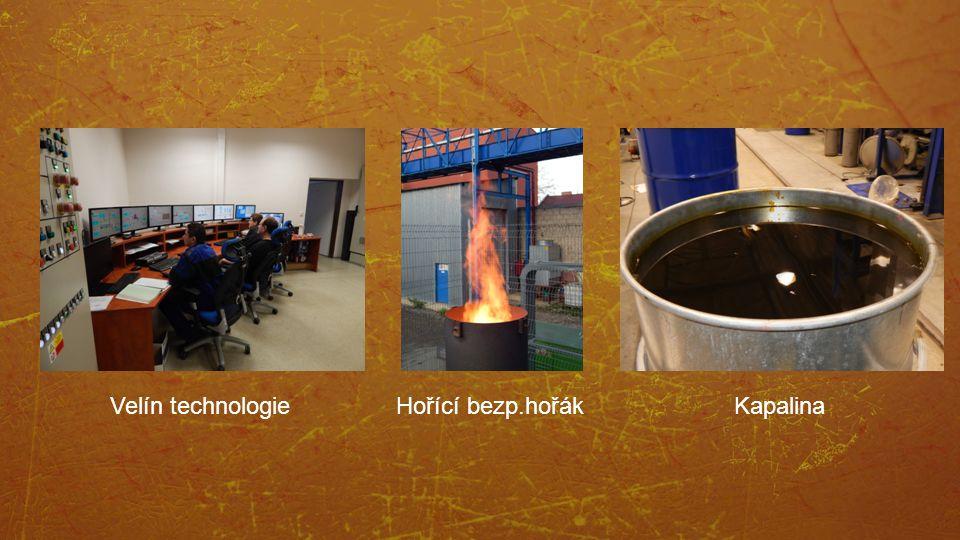 Velín technologie Hořící bezp.hořák Kapalina