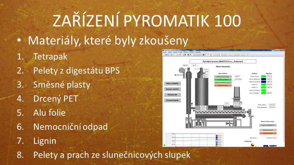 ZAŘÍZENÍ PYROMATIK 100 Materiály, které byly zkoušeny Tetrapak