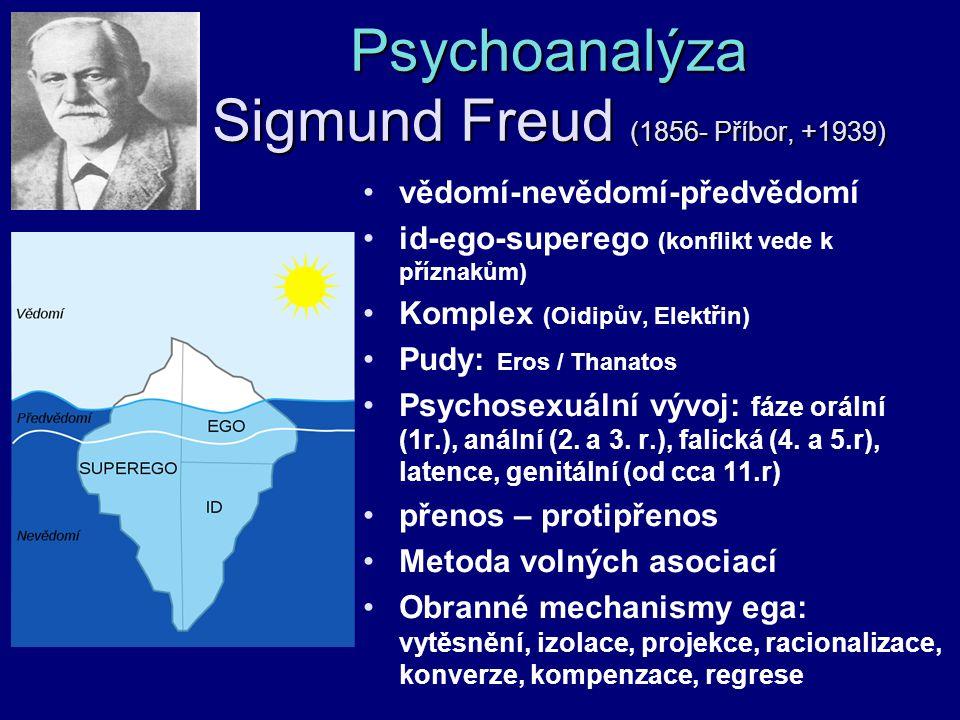 Psychoanalýza Sigmund Freud (1856- Příbor, +1939)