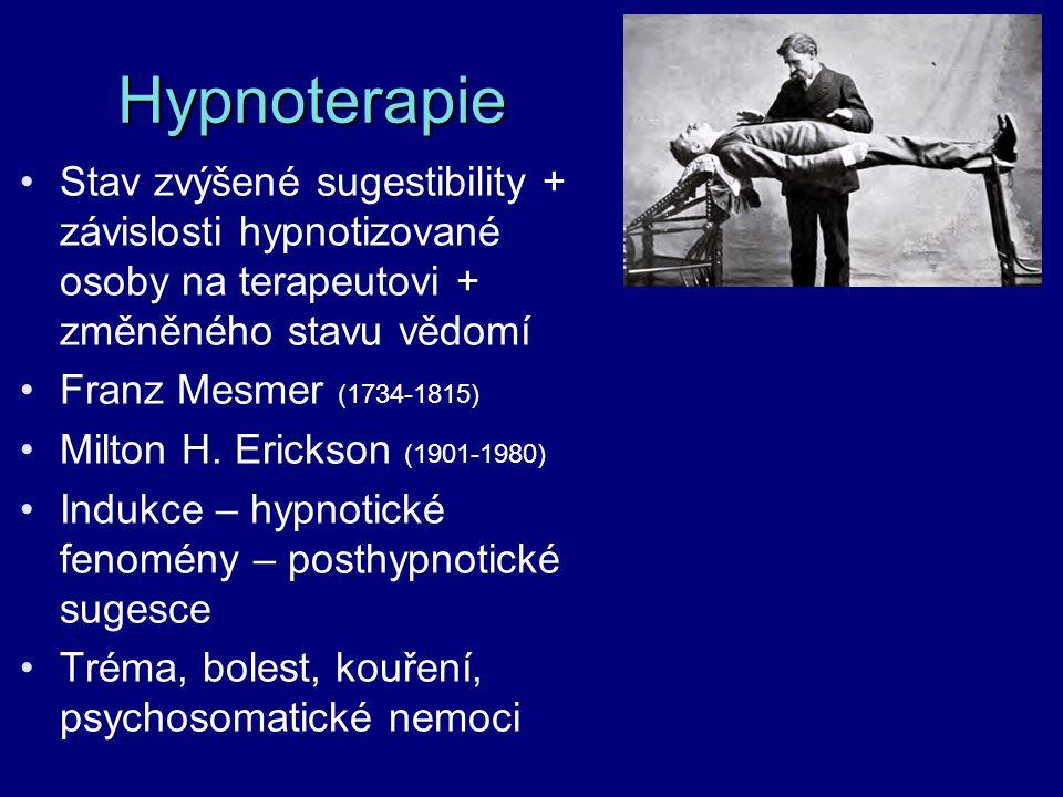 Hypnoterapie Stav zvýšené sugestibility + závislosti hypnotizované osoby na terapeutovi + změněného stavu vědomí.