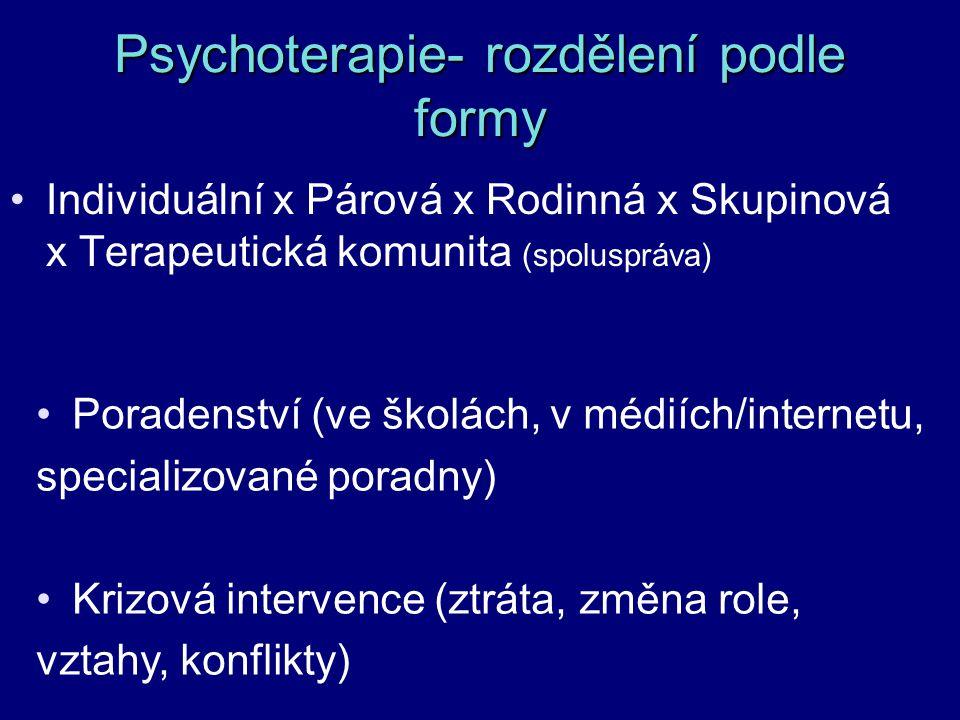 Psychoterapie- rozdělení podle formy