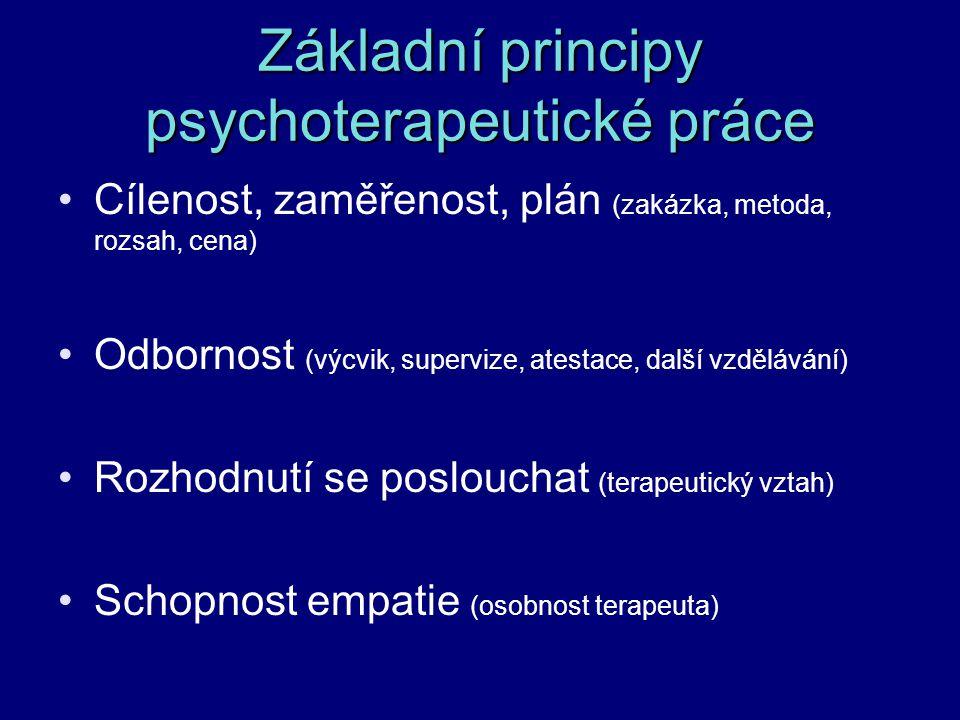 Základní principy psychoterapeutické práce