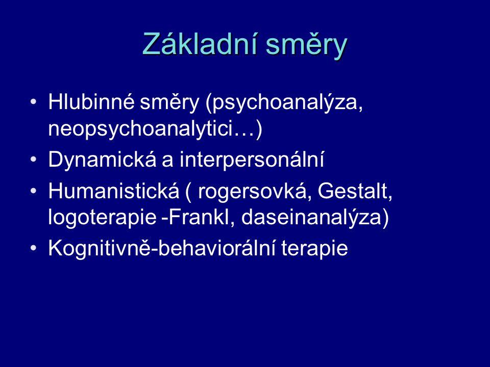 Základní směry Hlubinné směry (psychoanalýza, neopsychoanalytici…)