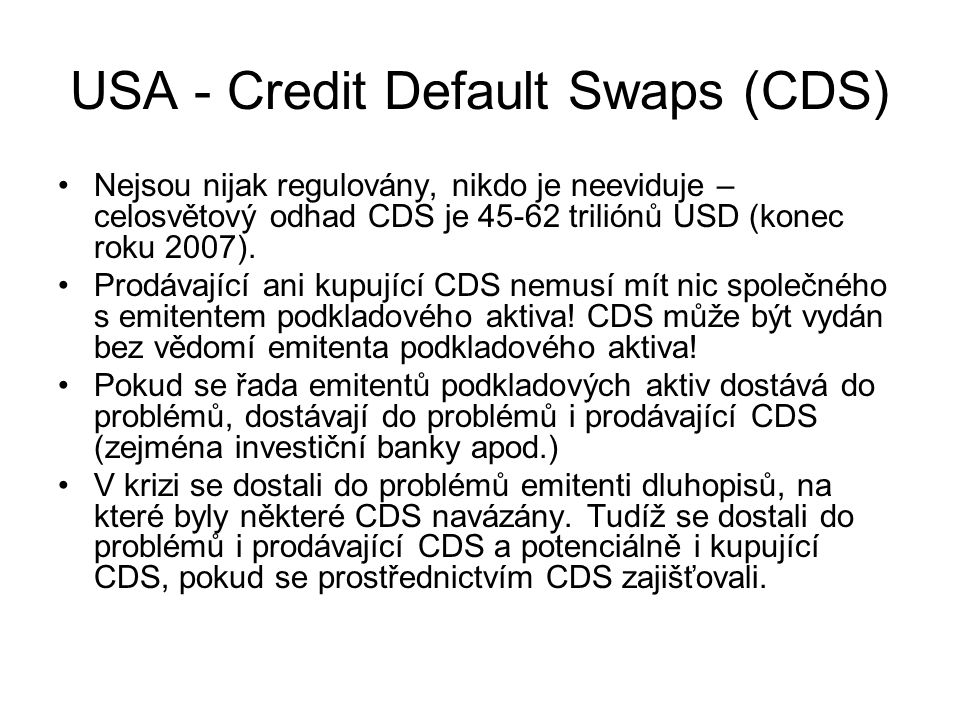USA - Credit Default Swaps (CDS)