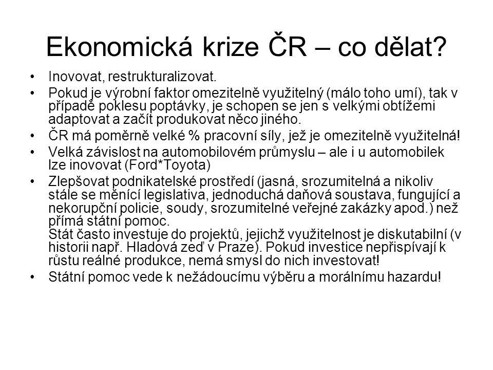 Ekonomická krize ČR – co dělat