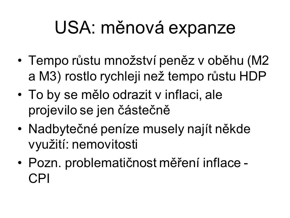 USA: měnová expanze Tempo růstu množství peněz v oběhu (M2 a M3) rostlo rychleji než tempo růstu HDP.