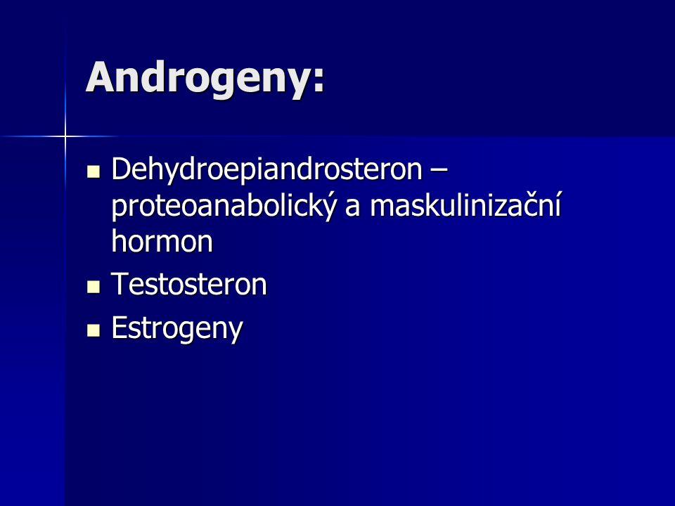 Androgeny: Dehydroepiandrosteron – proteoanabolický a maskulinizační hormon Testosteron Estrogeny