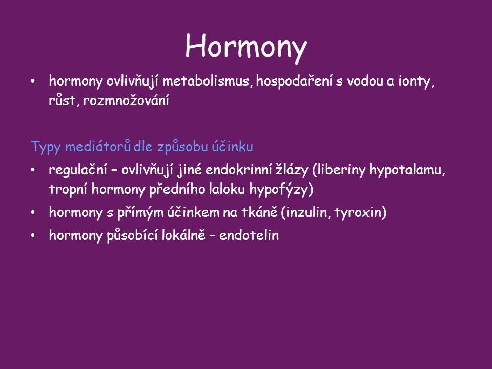 Hormony hormony ovlivňují metabolismus, hospodaření s vodou a ionty, růst, rozmnožování Typy mediátorů dle způsobu účinku.