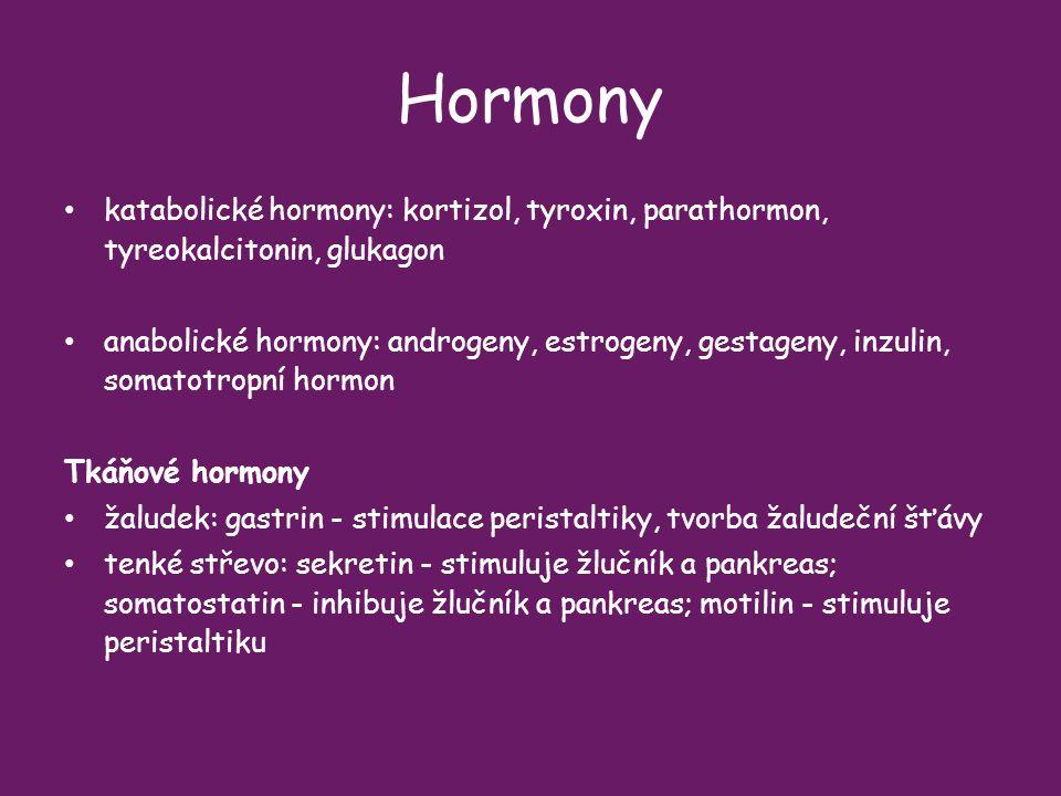 Hormony katabolické hormony: kortizol, tyroxin, parathormon, tyreokalcitonin, glukagon.