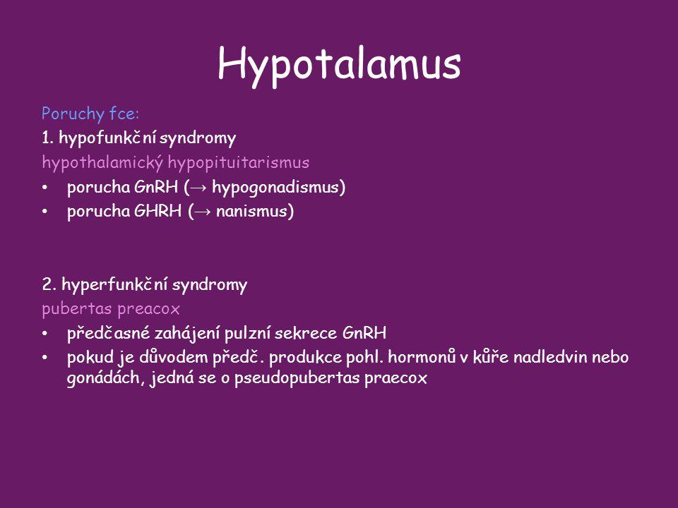 Hypotalamus Poruchy fce: 1. hypofunkční syndromy