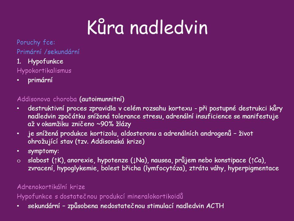Kůra nadledvin Poruchy fce: Primární /sekundární Hypofunkce