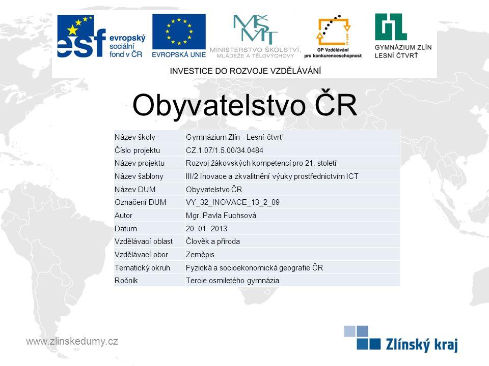 Obyvatelstvo ČR www.zlinskedumy.cz Název školy