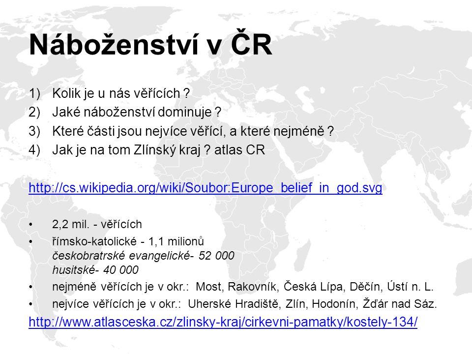 Náboženství v ČR Kolik je u nás věřících Jaké náboženství dominuje