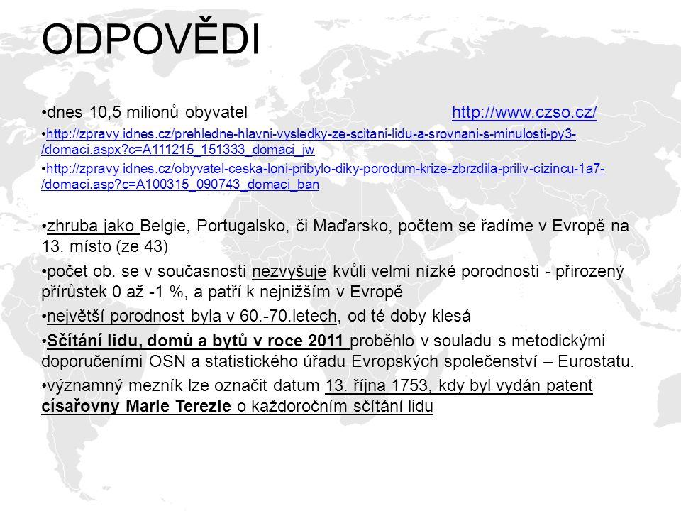 ODPOVĚDI dnes 10,5 milionů obyvatel http://www.czso.cz/