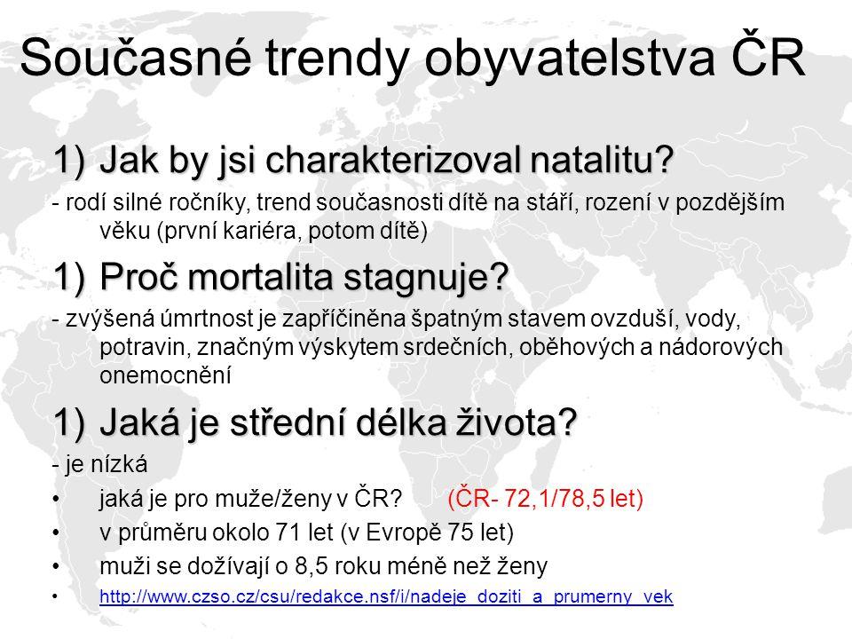 Současné trendy obyvatelstva ČR