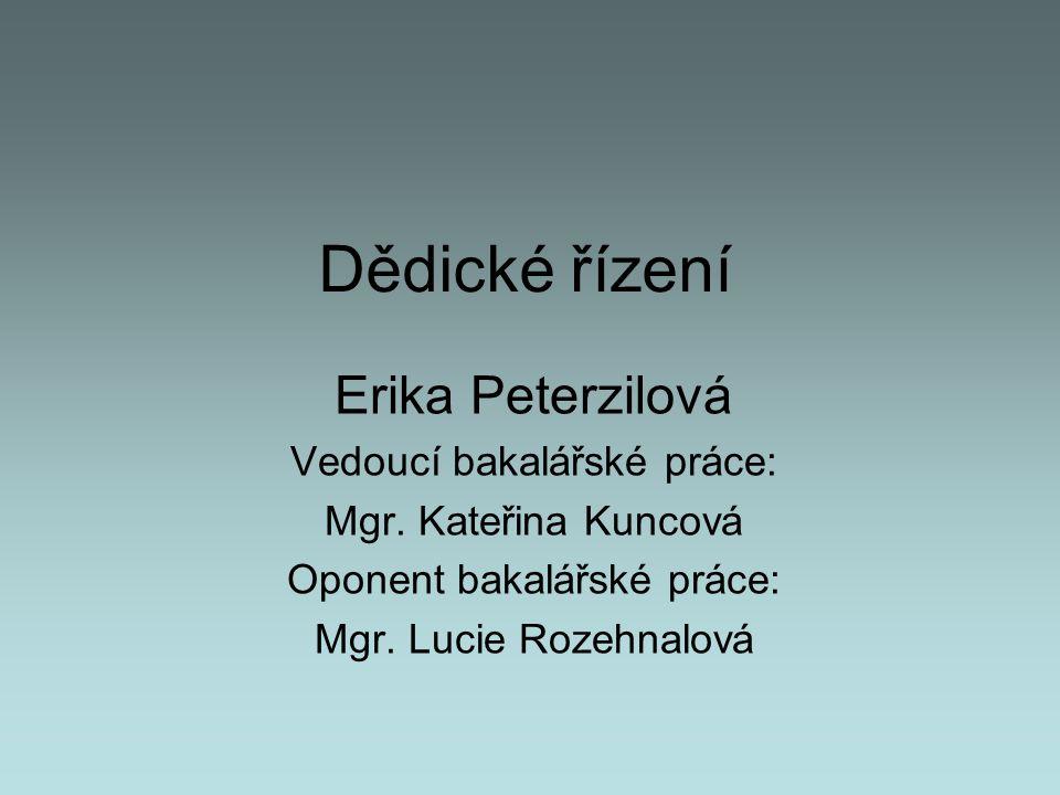 Dědické řízení Erika Peterzilová Vedoucí bakalářské práce: