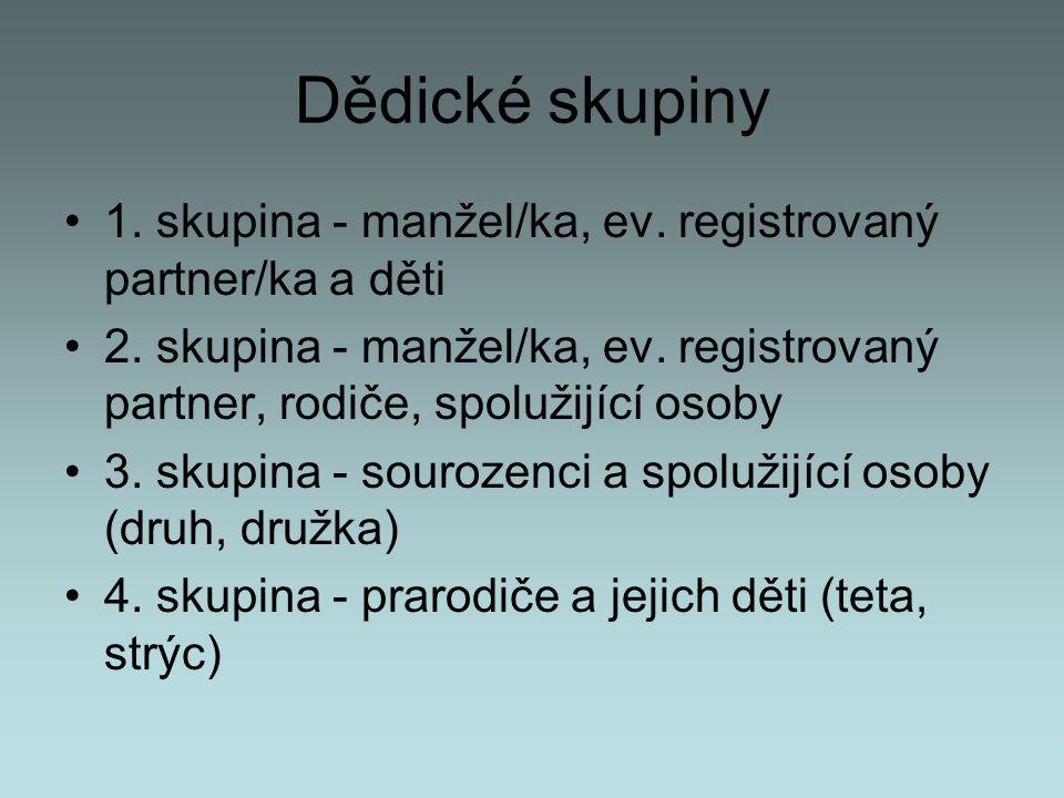 Dědické skupiny 1. skupina - manžel/ka, ev. registrovaný partner/ka a děti.