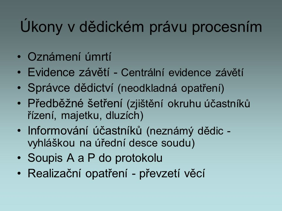 Úkony v dědickém právu procesním