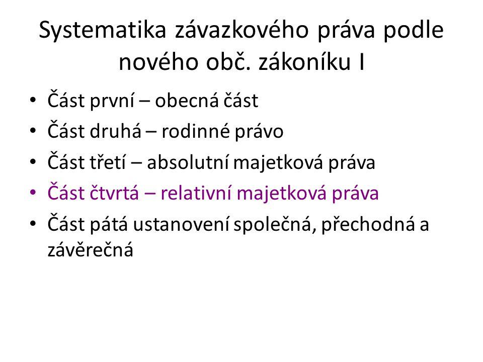 Systematika závazkového práva podle nového obč. zákoníku I