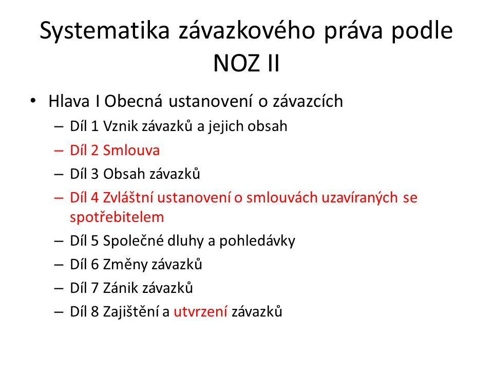 Systematika závazkového práva podle NOZ II