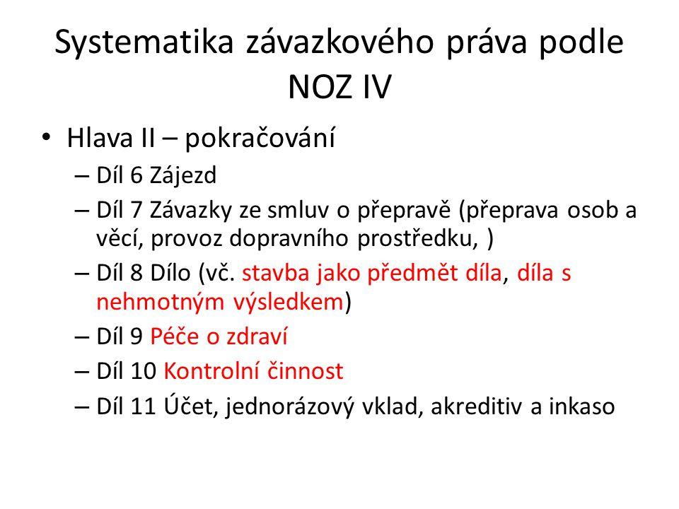 Systematika závazkového práva podle NOZ IV