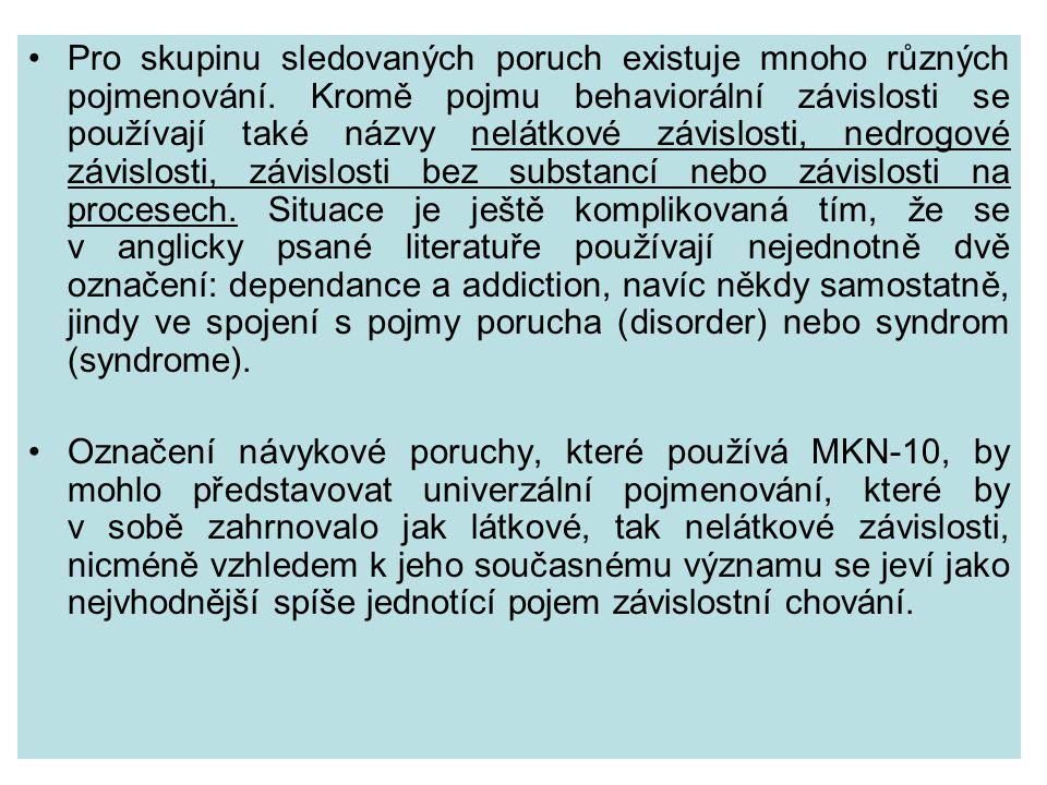 Pro skupinu sledovaných poruch existuje mnoho různých pojmenování