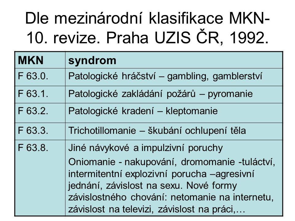 Dle mezinárodní klasifikace MKN-10. revize. Praha UZIS ČR, 1992.