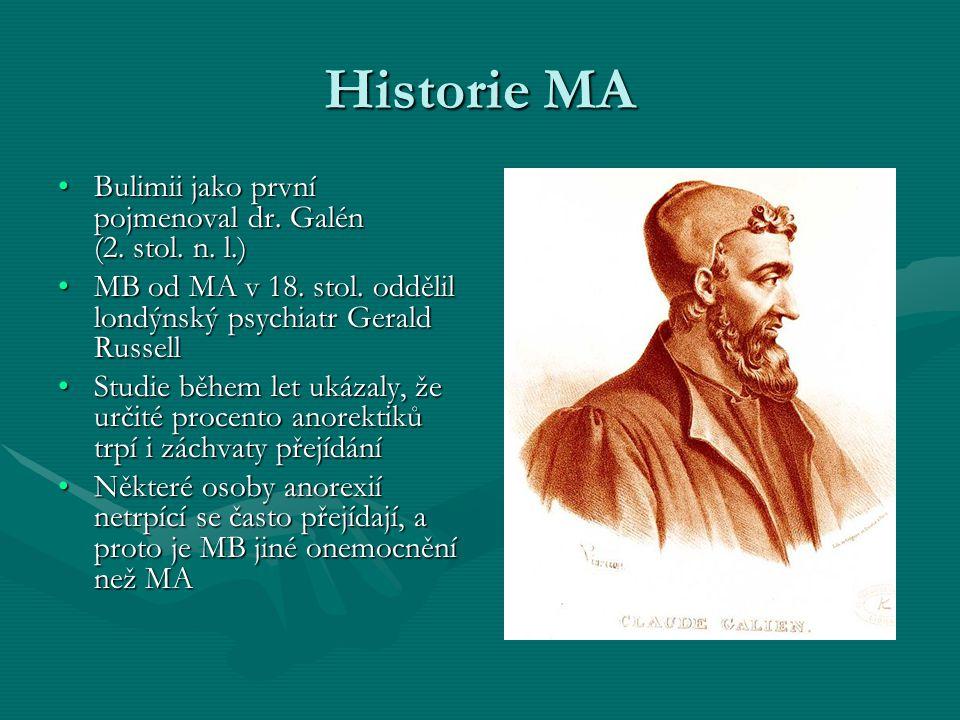Historie MA Bulimii jako první pojmenoval dr. Galén (2. stol. n. l.)