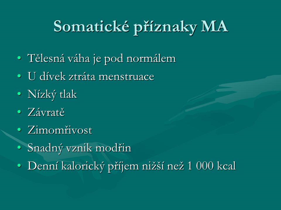 Somatické příznaky MA Tělesná váha je pod normálem
