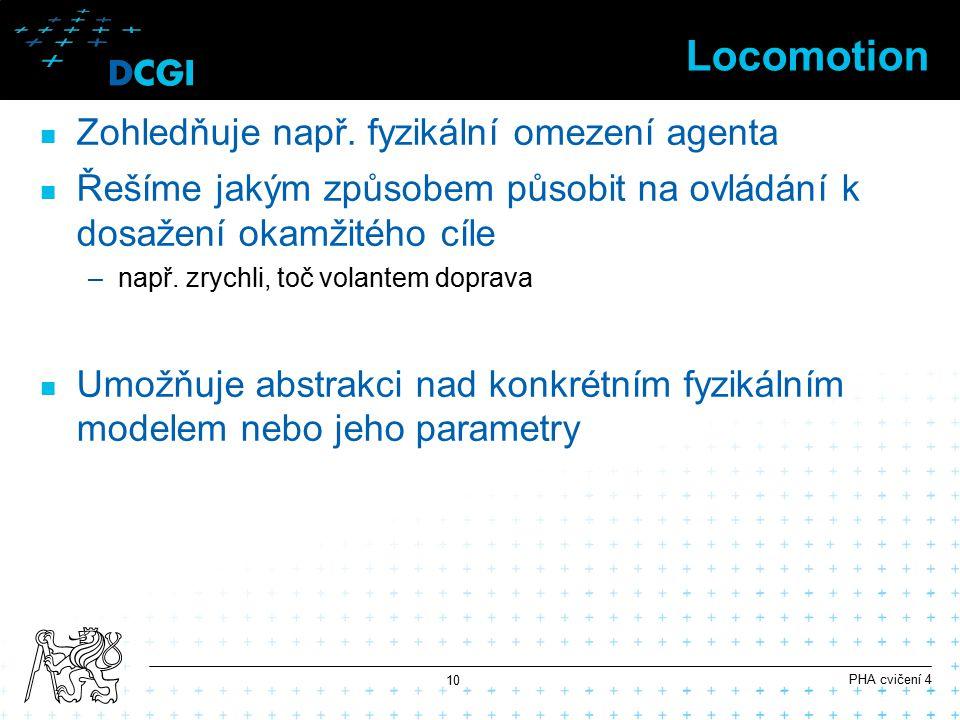 Locomotion Zohledňuje např. fyzikální omezení agenta