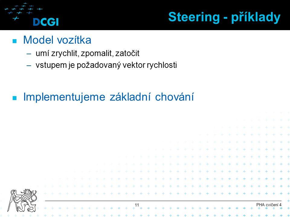 Steering - příklady Model vozítka Implementujeme základní chování