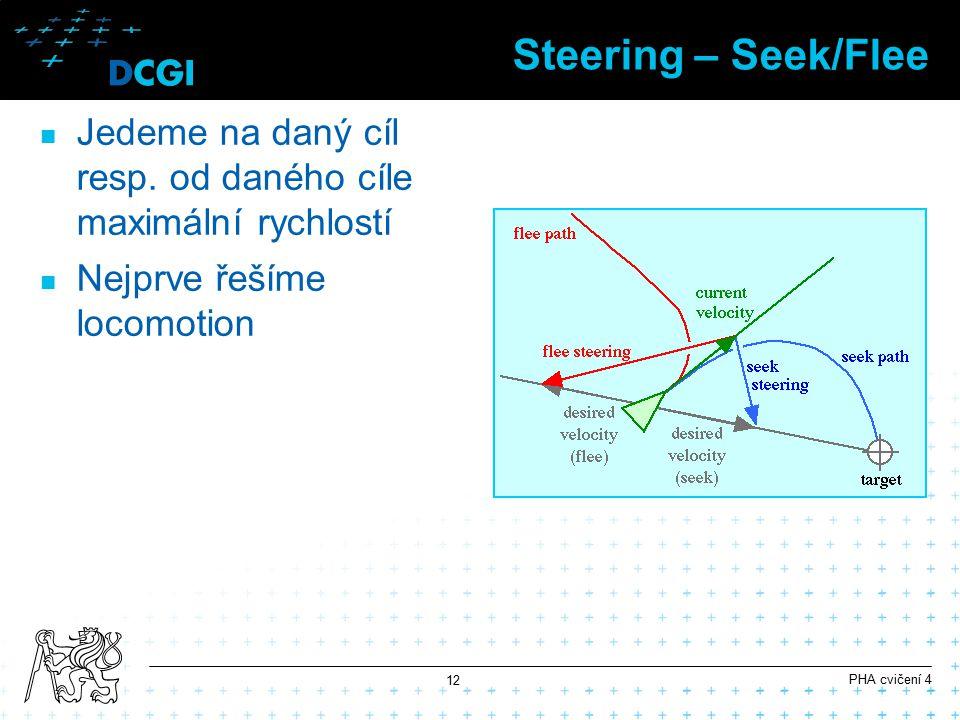 Steering – Seek/Flee Jedeme na daný cíl resp. od daného cíle maximální rychlostí. Nejprve řešíme locomotion.
