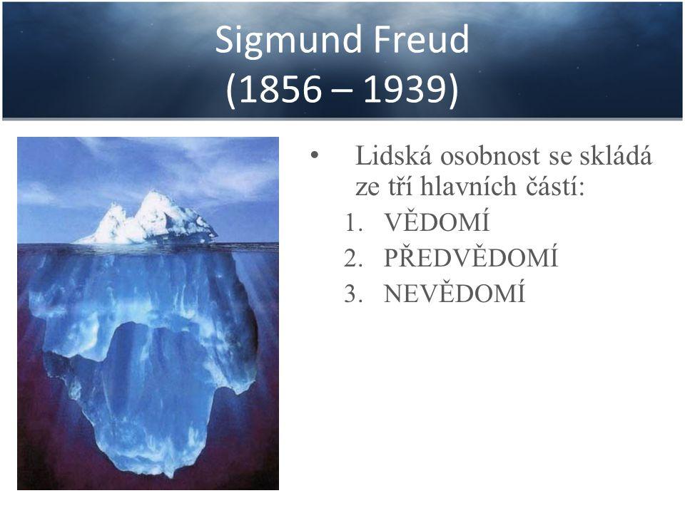 Sigmund Freud (1856 – 1939) Lidská osobnost se skládá ze tří hlavních částí: VĚDOMÍ. PŘEDVĚDOMÍ.