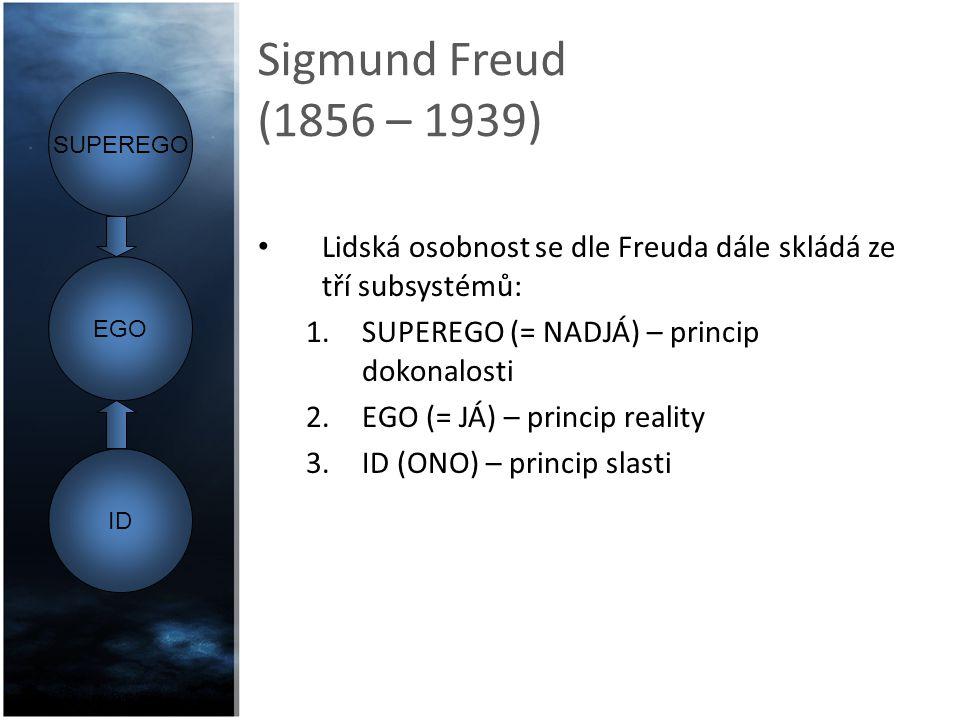 Sigmund Freud (1856 – 1939) SUPEREGO. Lidská osobnost se dle Freuda dále skládá ze tří subsystémů: