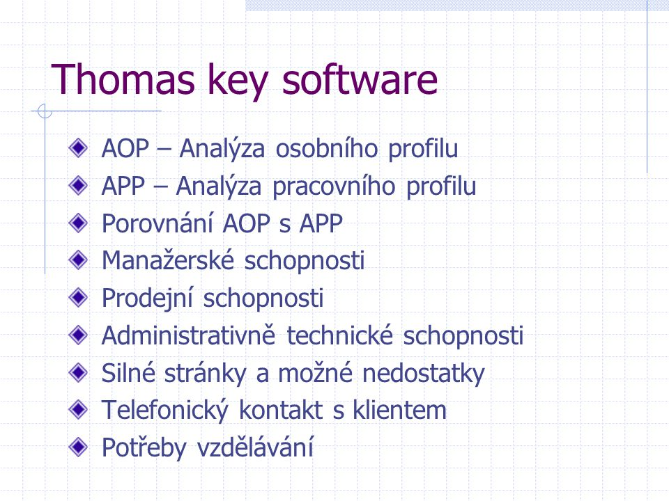 Thomas key software AOP – Analýza osobního profilu