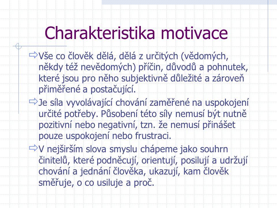 Charakteristika motivace