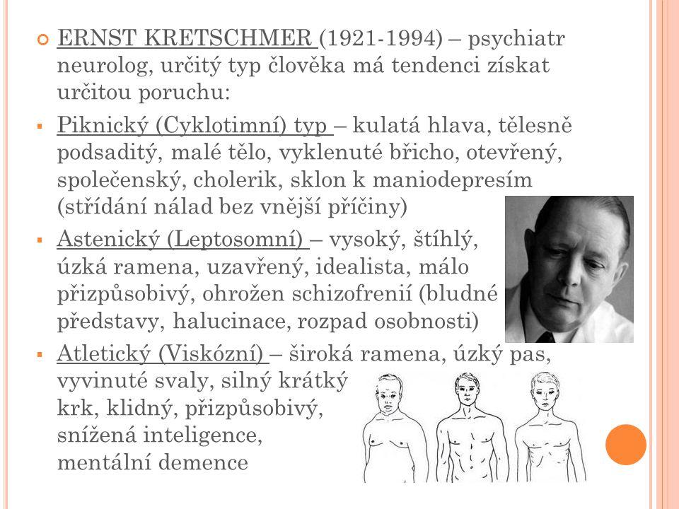 ERNST KRETSCHMER (1921-1994) – psychiatr neurolog, určitý typ člověka má tendenci získat určitou poruchu: