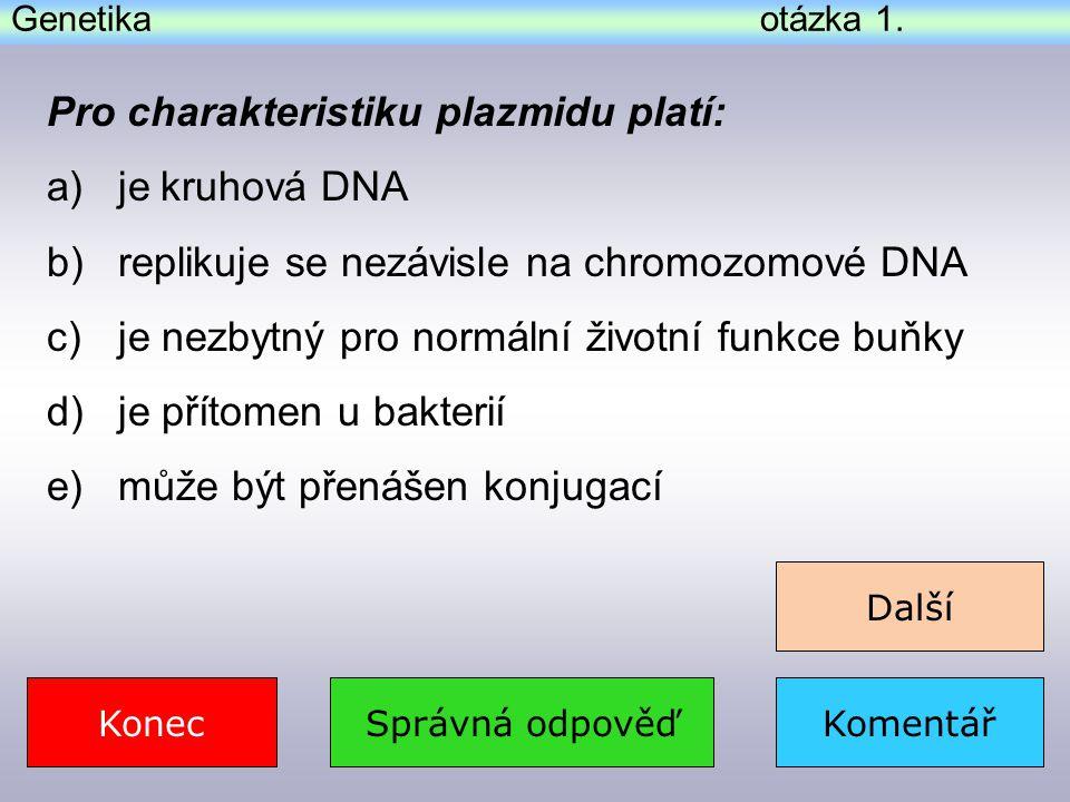 Pro charakteristiku plazmidu platí: je kruhová DNA