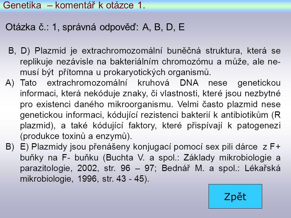Genetika – komentář k otázce 1.
