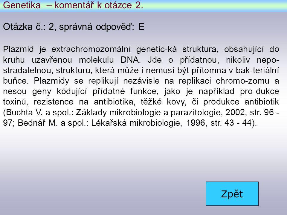 Genetika – komentář k otázce 2.
