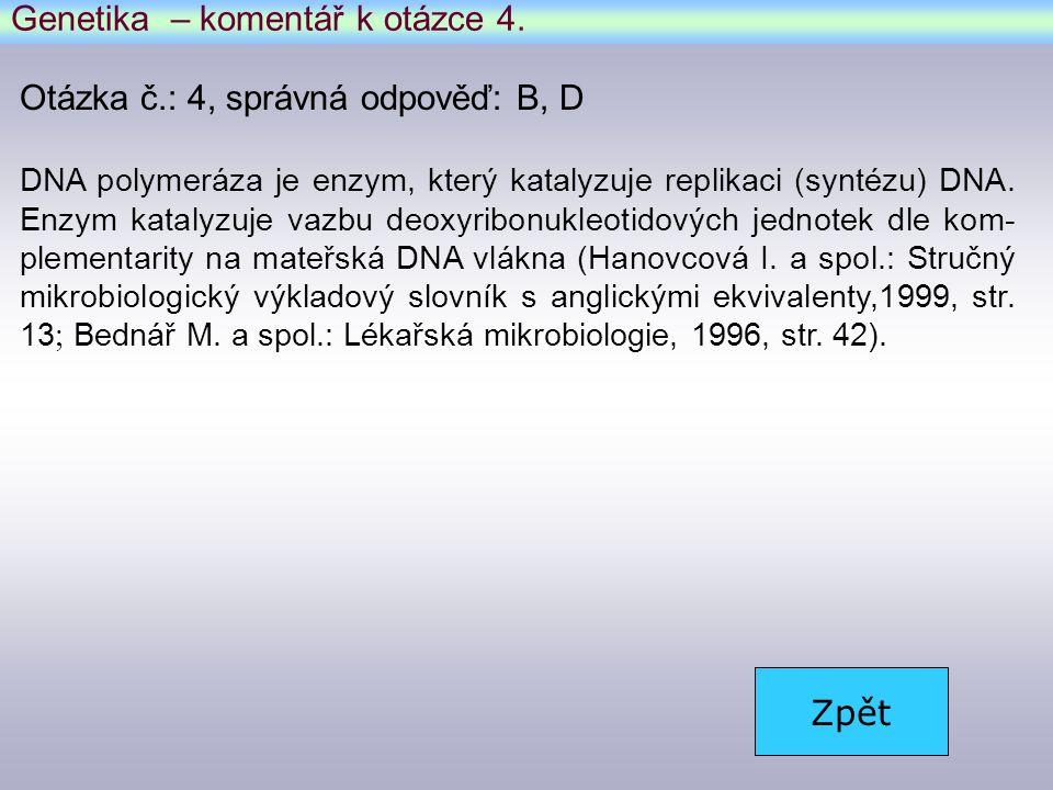 Genetika – komentář k otázce 4.