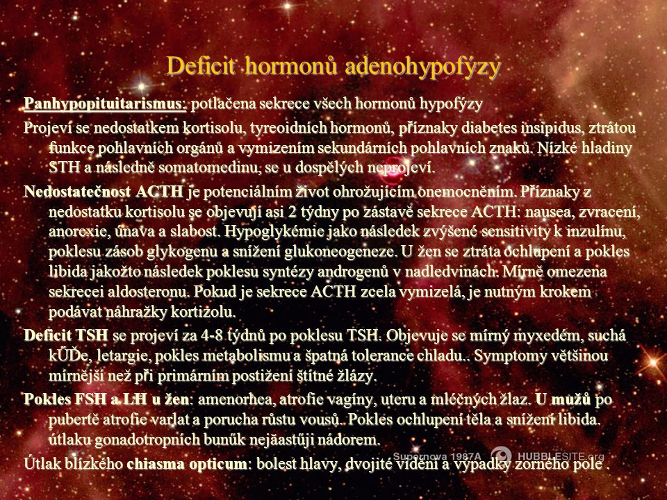 Deficit hormonů adenohypofýzy