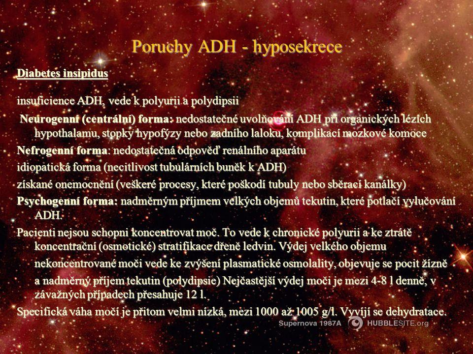 Poruchy ADH - hyposekrece