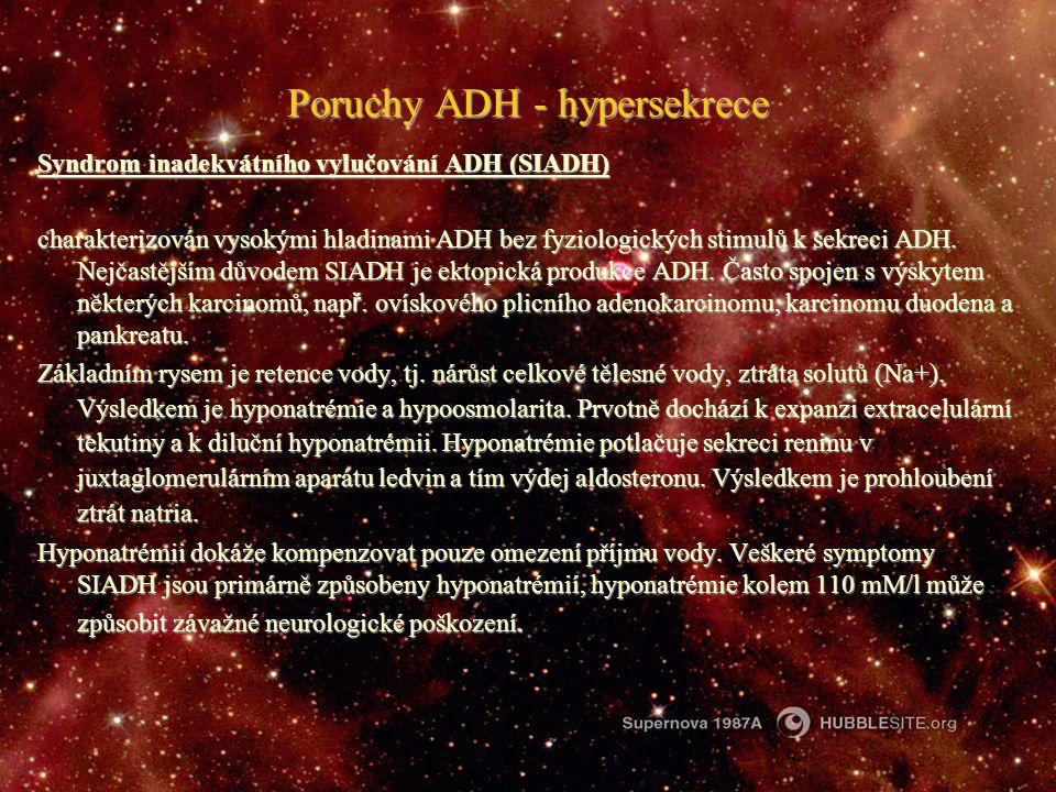 Poruchy ADH - hypersekrece