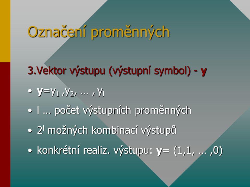Označení proměnných 3.Vektor výstupu (výstupní symbol) - y