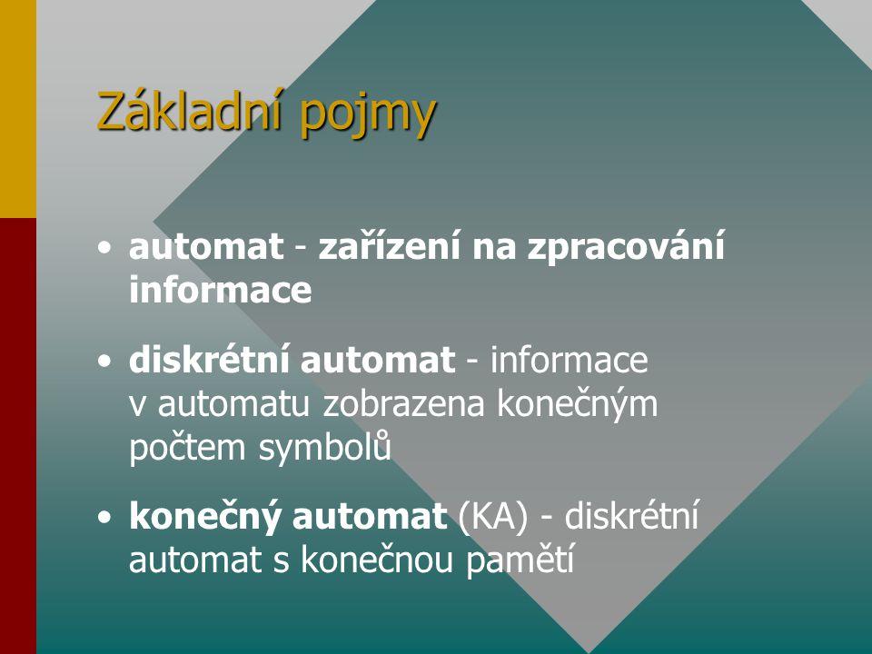 Základní pojmy automat - zařízení na zpracování informace